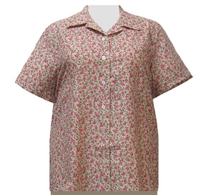Romantic Garden Short Sleeve Camp Shirt Women's Plus Size Blouse