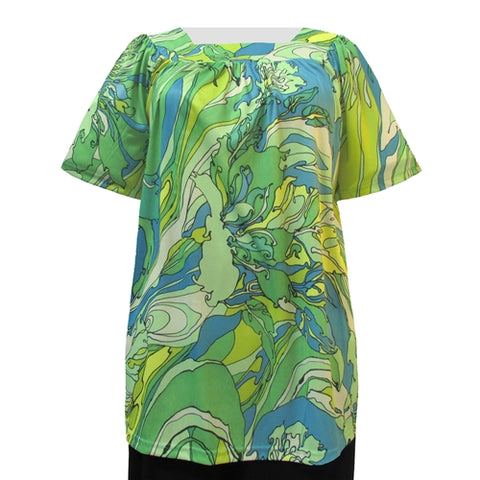 Abstract Flowers Short Sleeve Square Neck Pullover Women's Plus Size Top
