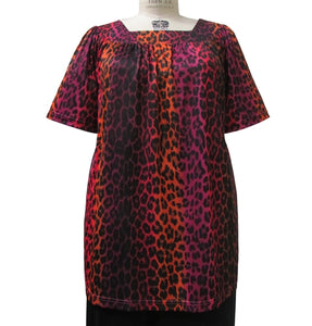 Midnight Leopard Short Sleeve Square Neck Pullover Women's Plus Size Top