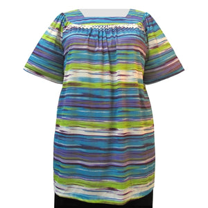 Miami Stripes Short Sleeve Square Neck Pullover Women's Plus Size Top