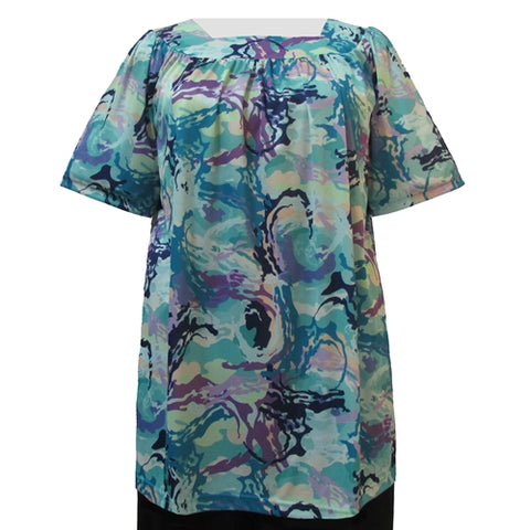 Pastel Paint Short Sleeve Square Neck Pullover Women's Plus Size Top