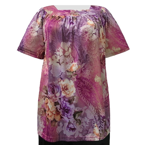 Purple Queen Short Sleeve Square Neck Pullover Women's Plus Size Top