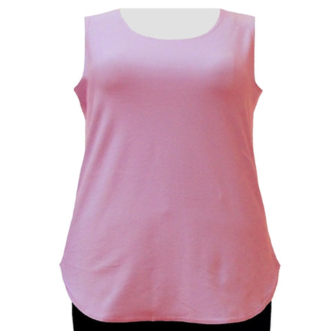 Pink Cotton Knit Tank Top Women's Plus Size Tank Top