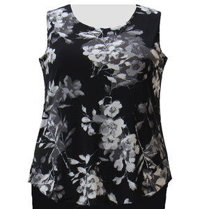 Black Floral Layering Tank Top Women's Plus Size Tank Top