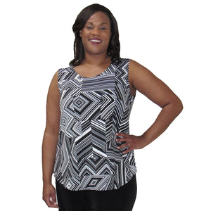 Black & White Linear Geometric Layering Tank Top Women's Plus Size Tank Top