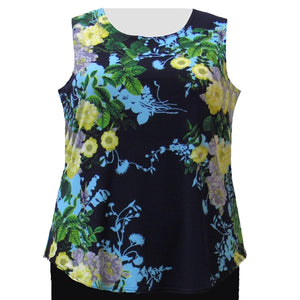 Navy Floral Layering Tank Top Women's Plus Size Tank Top