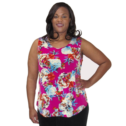 Pink Bouquet Layering Tank Top Women's Plus Size Tank Top