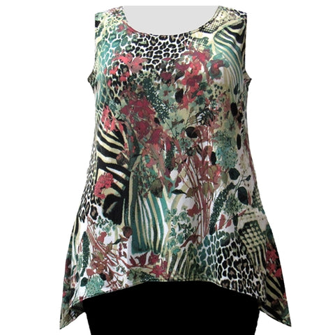 Animal Abstract Floral Shark Bite Hem Tank Top Women's Plus Size Tank Top