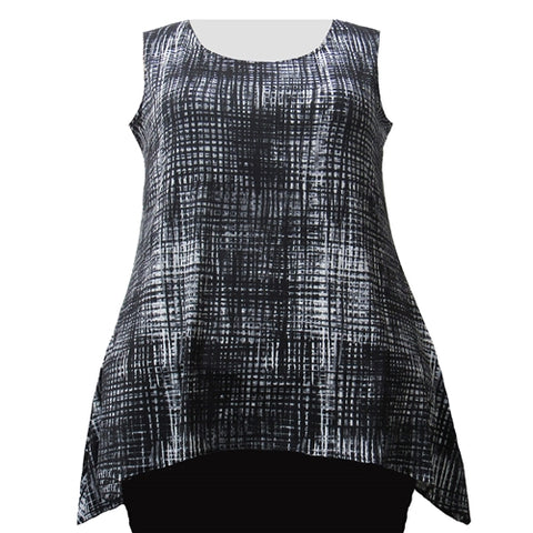 Black & Grey Grid Shark Bite Hem Tank Top Women's Plus Size Tank Top