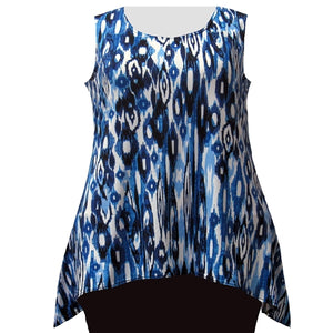 Blue Ikat Hankie Hem Tank Top Women's Plus Size Tank Top