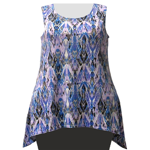 Lilac Ikat Shark Bite Hem Tank Top Women's Plus Size Tank Top
