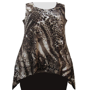 Leopard Abstract Shark Bite Hem Tank Top Women's Plus Size Tank Top