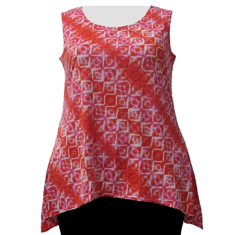 Orange Kaleidoscope Shark Bite Hem Tank Top Women's Plus Size Tank Top