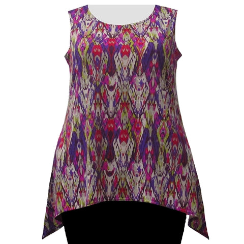 Purple Ikat Shark Bite Hem Tank Top Women's Plus Size Tank Top