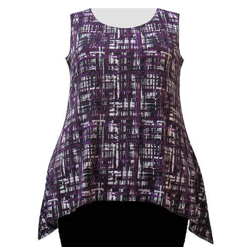 Purple Maze Shark Bite Hem Tank Top Women's Plus Size Tank Top