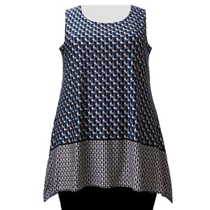 Blue Geometric Border Print Tank Top Women's Plus Size Tank Top