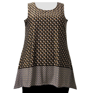 Brown Geometric Border Print Tank Top Women's Plus Size Tank Top