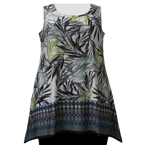 Green Floral Border Print Tank Top Women's Plus Size Tank Top