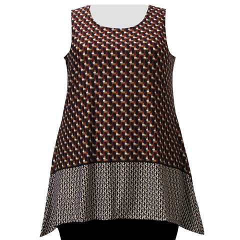 Wine Geometric Border Print Tank Top Women's Plus Size Tank Top