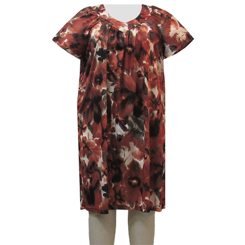 Cinnamon Abstract Floral Lounging Dress Women's Plus Size Dress