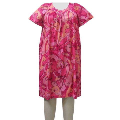 Pink Scrolls Lounging Dress Women's Plus Size Dress