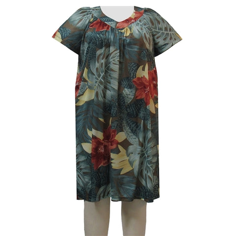 Sage Tropical Lounging Dress Women's Plus Size Dress
