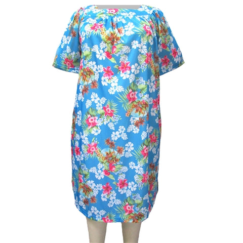 Blue Tropical Square Neck Lounging Dress Women's Plus Size Dress