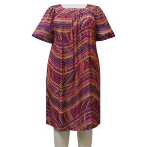 Check Swirl Square Neck Lounging Dress Women's Plus Size Dress