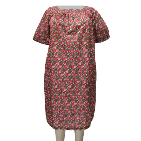 Flowering Garden Square Neck Lounging Dress Women's Plus Size Dress
