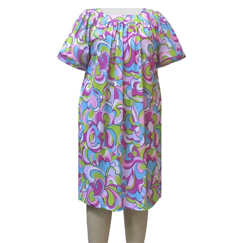 Geometric Medeley Square Neck Lounging Dress Women's Plus Size Dress