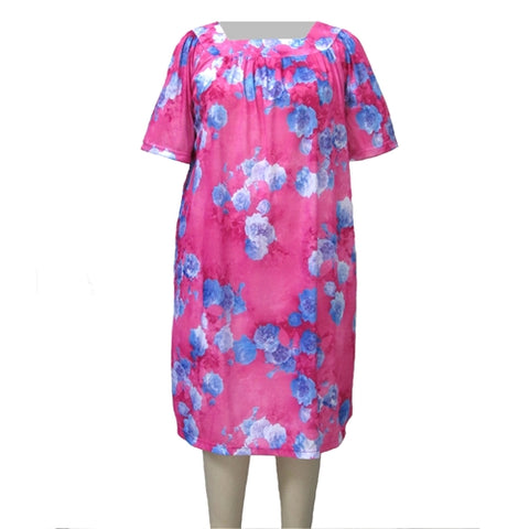 Pink Flourish Square Neck Lounging Dress Women's Plus Size Dress