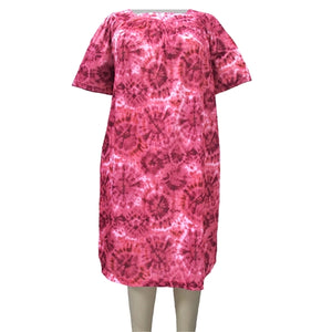 Pink Galaxy Square Neck Lounging Dress Women's Plus Size Dress