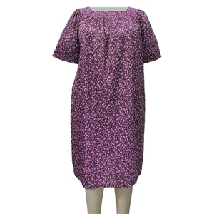 Purple Daisies Square Neck Lounging Dress Women's Plus Size Dress