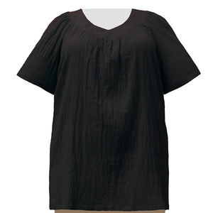 Black Cotton Gauze V-Neck Pullover Women's Plus Size Top