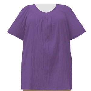 Purple Cotton Gauze V-Neck Pullover Women's Plus Size Top