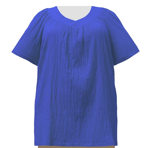 Royal Cotton Gauze V-Neck Pullover Women's Plus Size Top
