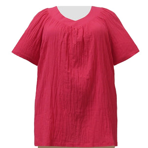 Strawberry Cotton Gauze V-Neck Pullover Women's Plus Size Top