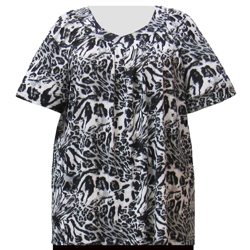Animal Patchwork V-Neck Pullover Women's Plus Size Top