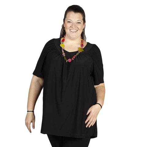 Black V-Neck Pullover Top Women's Plus Size Pullover Top