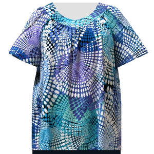 Blue Kaleidoscope V-Neck Pullover Women's Plus Size Top