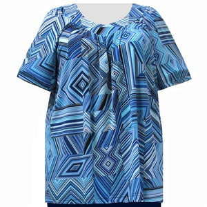 Blue Linear Geometric V-Neck Pullover Women's Plus Size Top