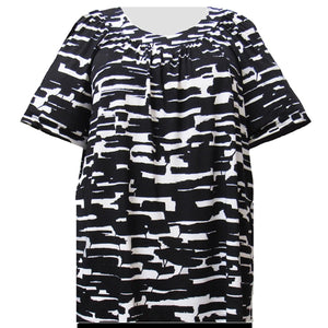 Black & White Abstract Geometric V-Neck Pullover Women's Plus Size Top