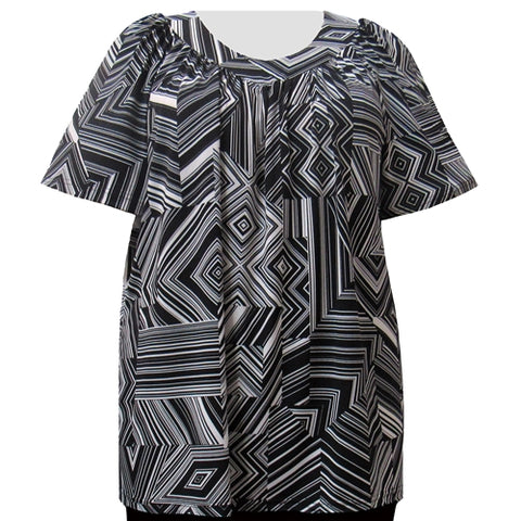 Black & White Linear Geometric V-Neck Pullover Women's Plus Size Top