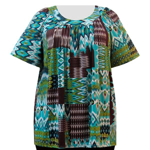 Cocoa & Teal Tribal V-Neck Pullover Women's Plus Size Top