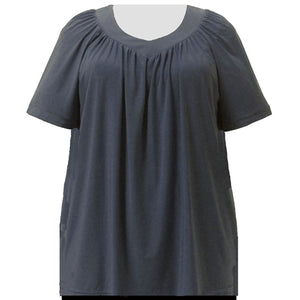 Charcoal Grey V-Neck Pullover Top Women's Plus Size Pullover Top