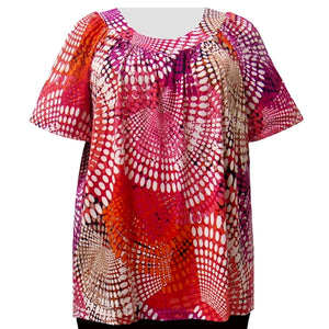 Fuchsia Kaleidoscope V-Neck Pullover Women's Plus Size Top