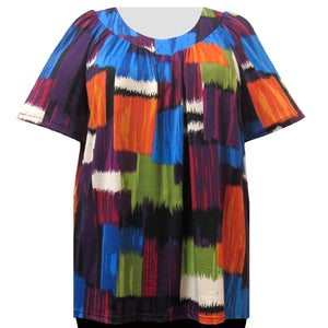 Multi Geometric Paint V-Neck Pullover Women's Plus Size Top