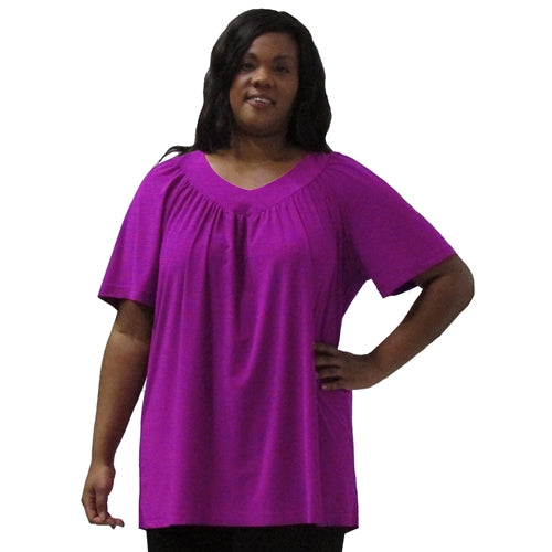 Magenta V-Neck Pullover Top Women's Plus Size Pullover Top