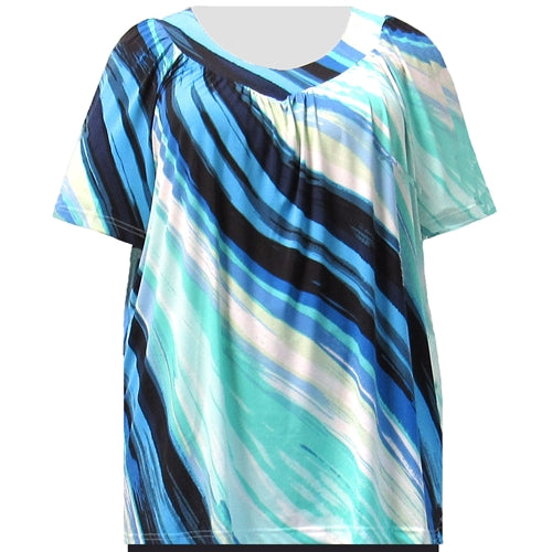Mint Diagonal Stripe Pullover Women's Plus Size Top