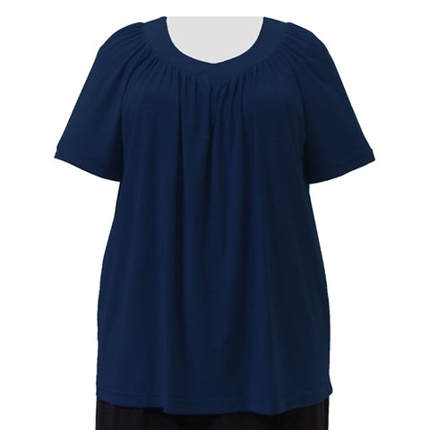 Navy V-Neck Pullover Top Women's Plus Size Pullover Top